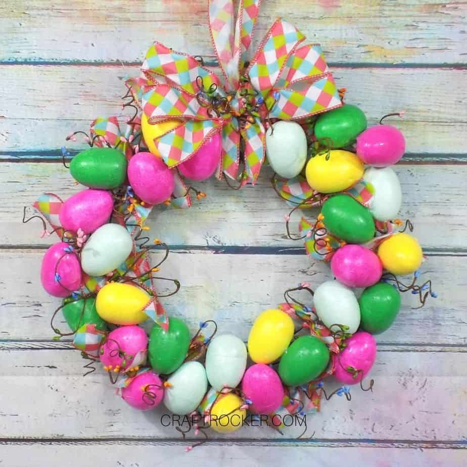 Hanging Easter Egg Wreath on Wood Background - Craft Rocker