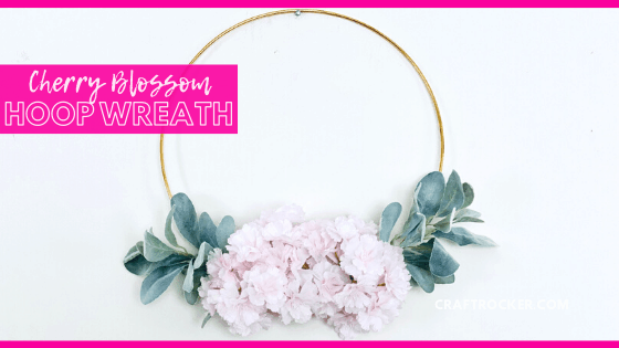 Hanging Floral Wreath with text overlay - Cherry Blossom Hoop Wreath - Craft Rocker