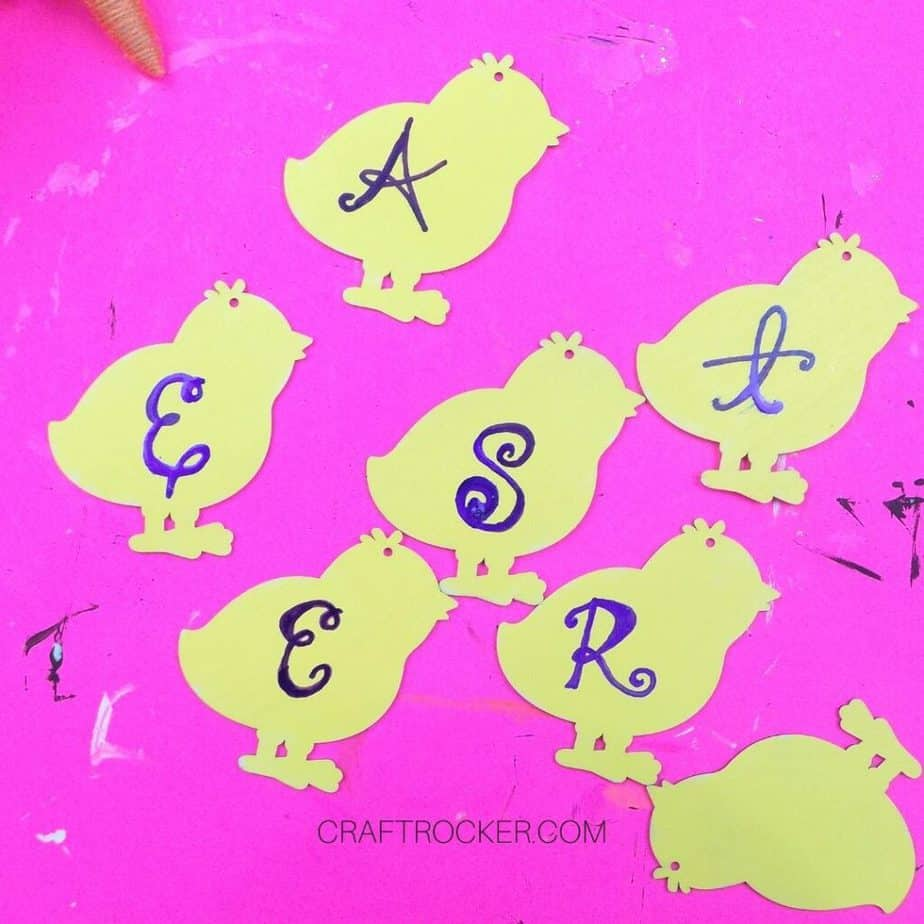 Letters Painted on Yellow Chicks - Craft Rocker