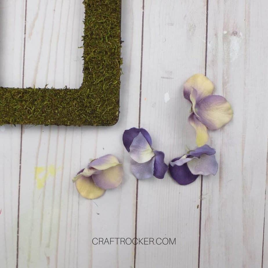 Loose Faux Flowers next to Moss Frame on Wood Background - Craft Rocker