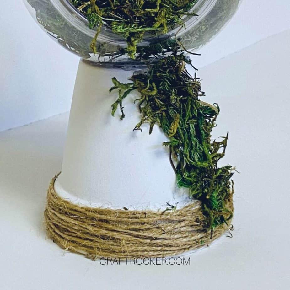Moss Glued to Side of Painted Terra Cotta Pot - Craft Rocker