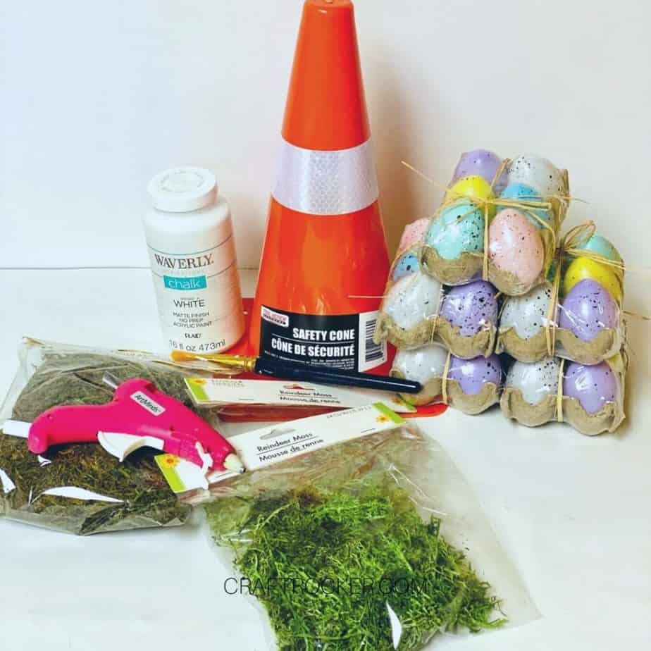 Orange Safety Cone next to Craft Supplies - Craft Rocker