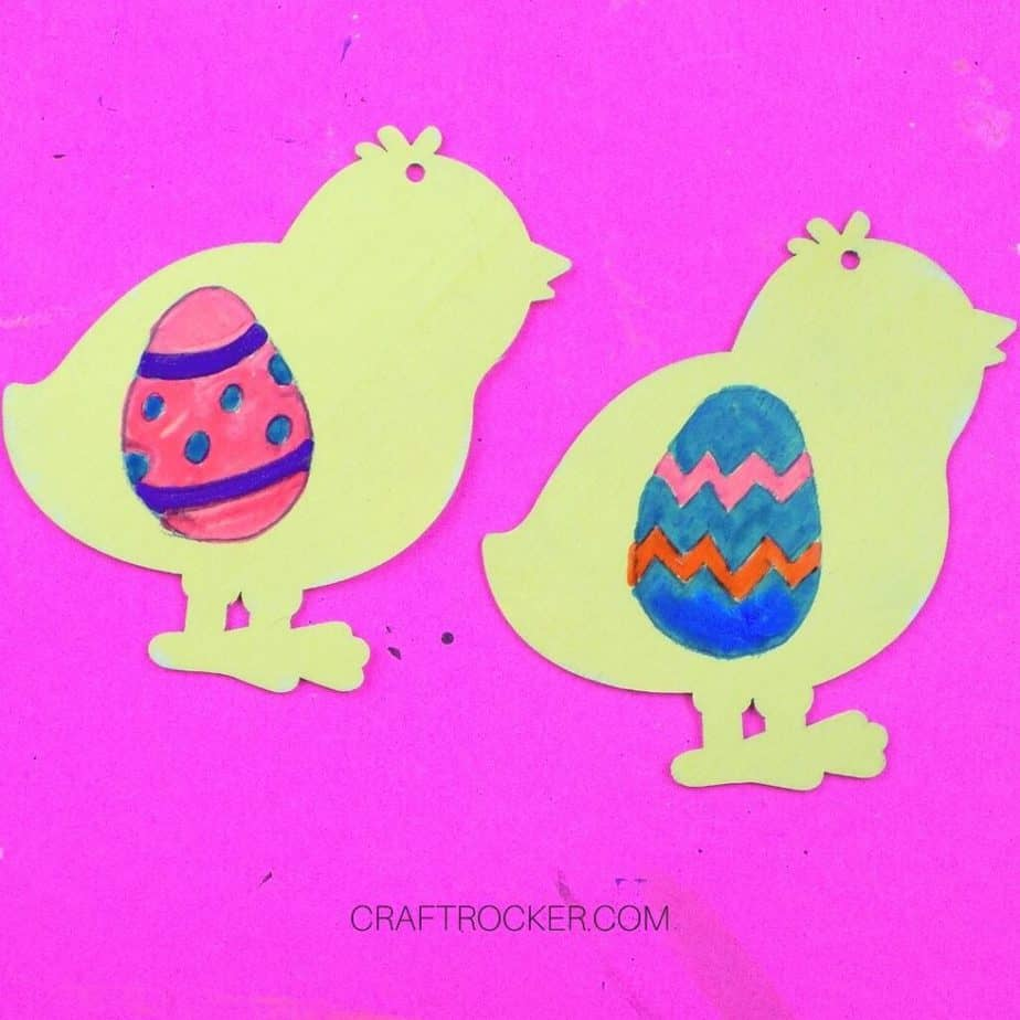 Painted Easter Eggs on Yellow Chicks - Craft Rocker