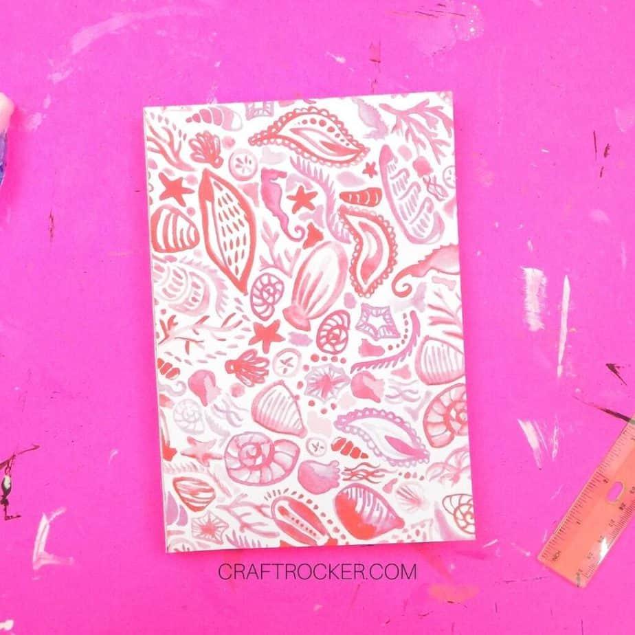 Pink Seashells Notebook on Pink Background - Craft Rocker