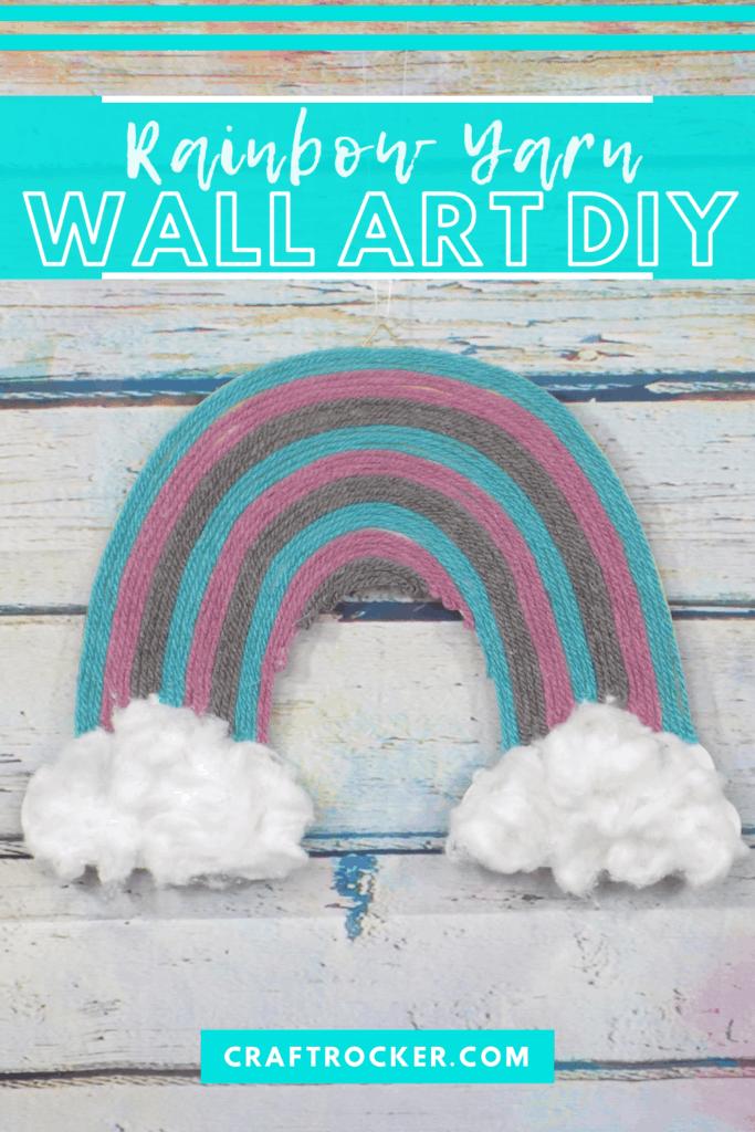 Rainbow Wall Art on Wood Background with text overlay - Rainbow Yarn Wall Art DIY - Craft Rocker