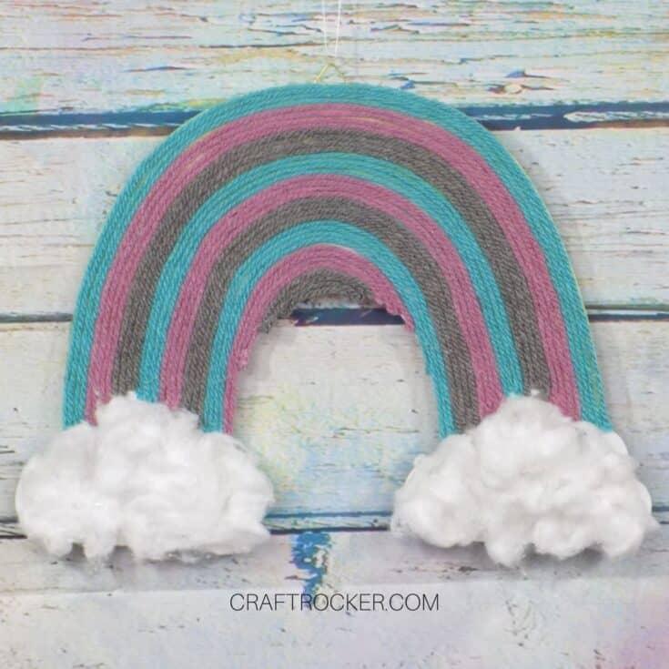 Rainbow Yarn Wall Art on Wood Background - Craft Rocker