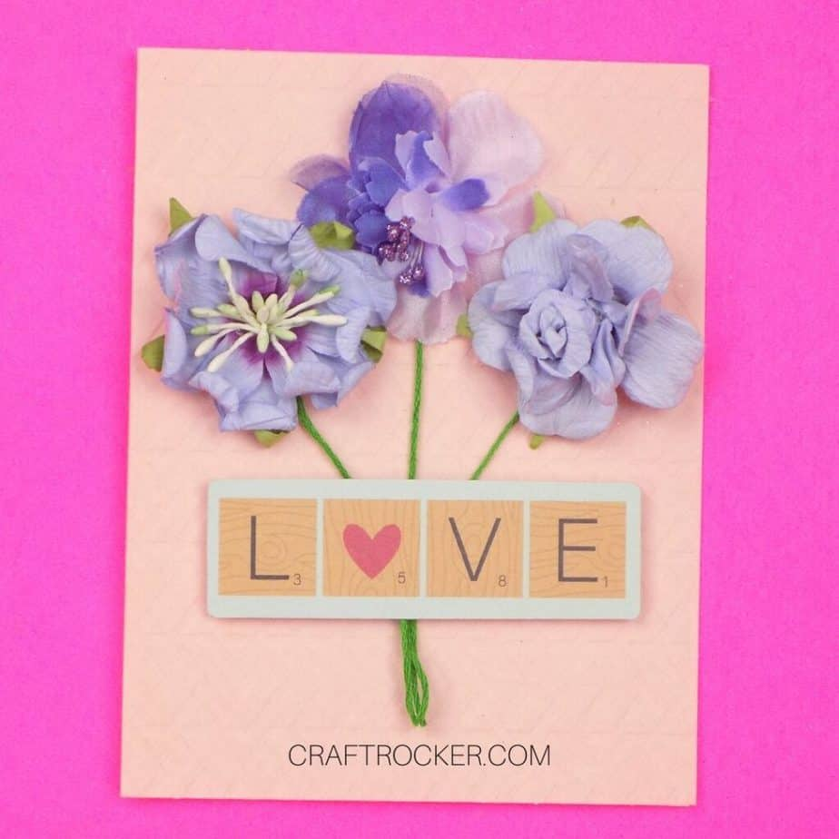 Scrabble Love Tiles Embellishment Attached to Bouquet Card - Craft Rocker