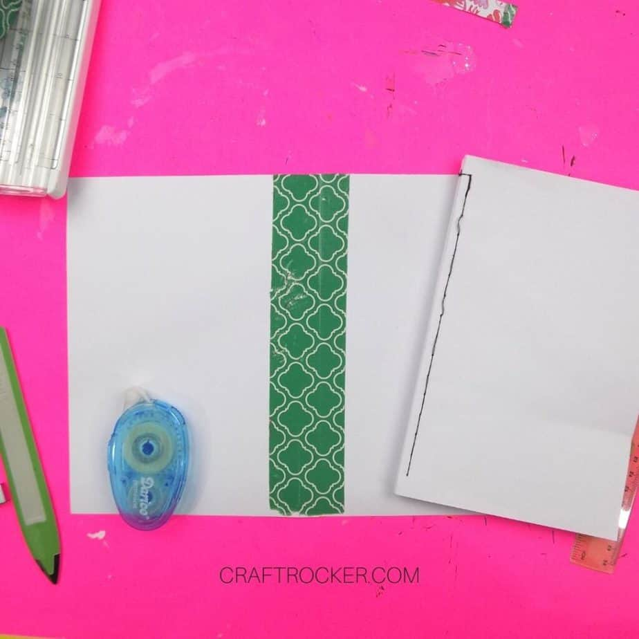Trimmed Cardstock Notebook Cover next to Glue Runner and Sewn Blank Pages - Craft Rocker