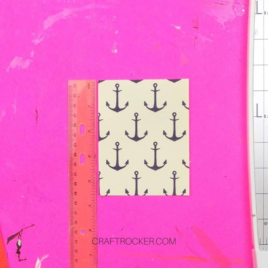 Trimmed Piece of Anchor Pattern Paper next to Ruler - Craft Rocker