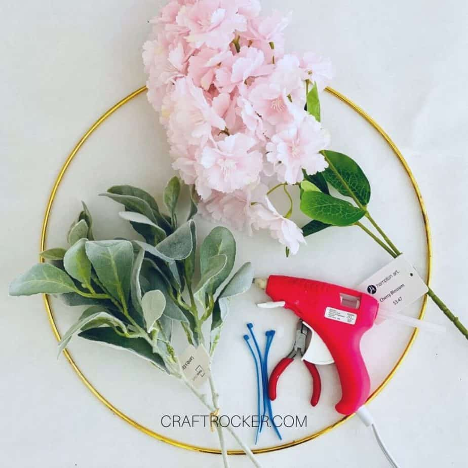 Wire Hoop and Fake Flowers next to Craft Tools - Craft Rocker