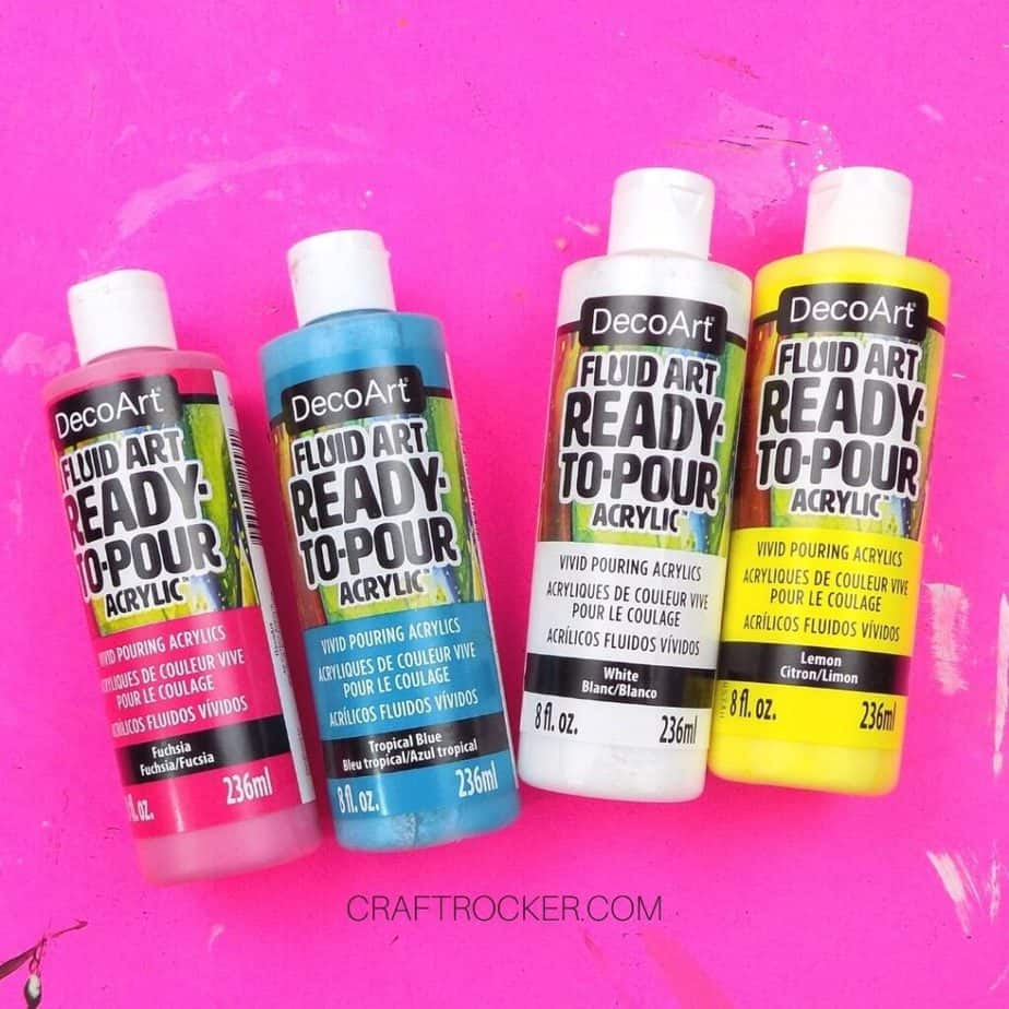 4 Bottles of Fluid Art Paint - Craft Rocker