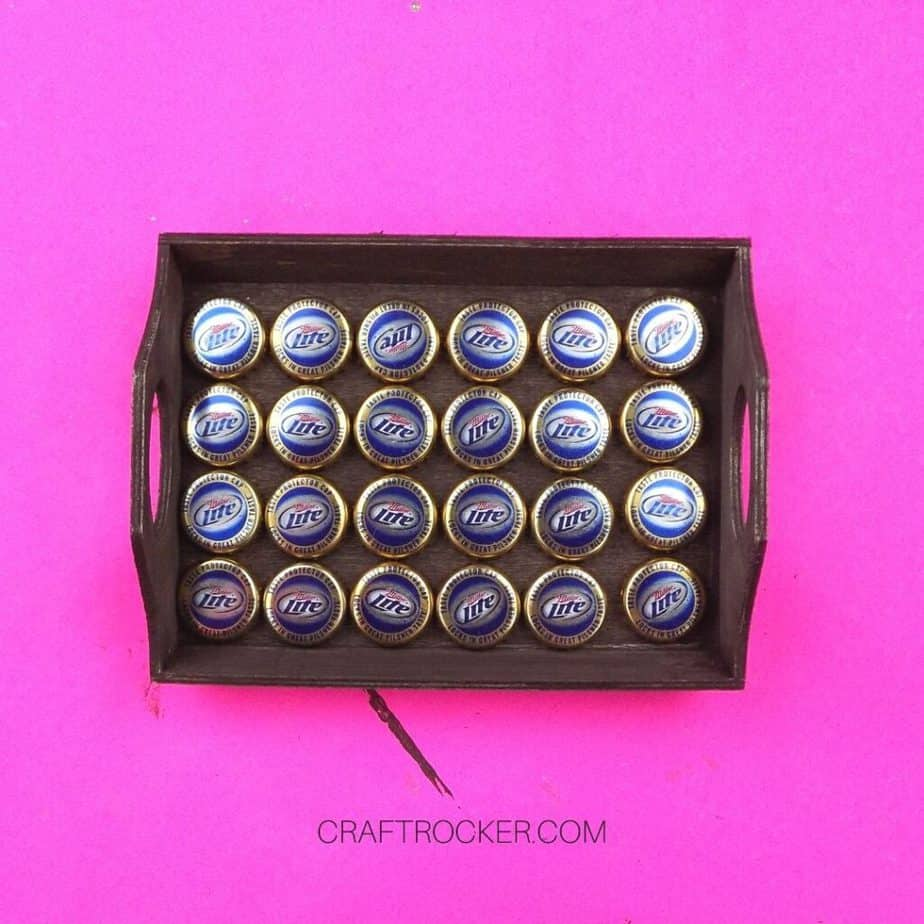 Bottle Caps Inside of Brown Painted Wood Tray - Craft Rocker
