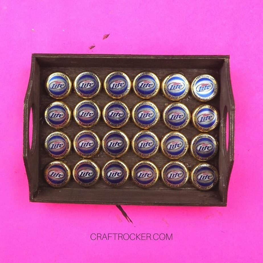 Bottle Caps Magnets Hot Glued in Wood Tray - Craft Rocker