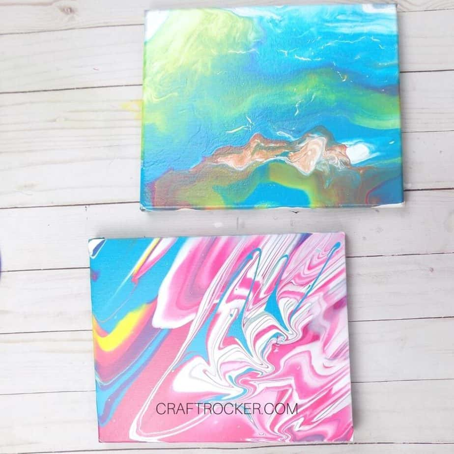 Close Up of 2 Fluid Art Canvases - Craft Rocker