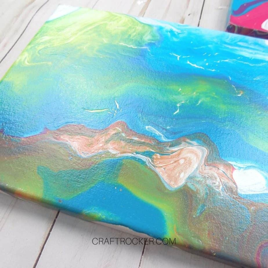 Close Up of Blue Fluid Art Canvas - Craft Rocker