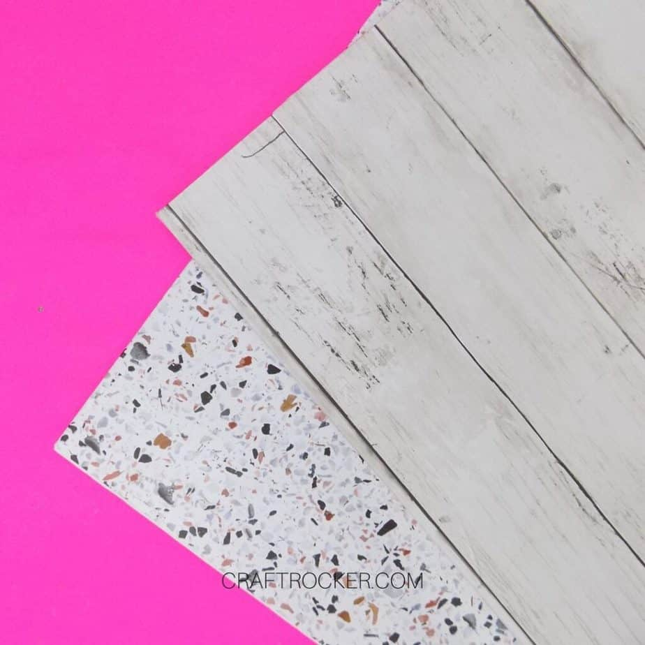 Close Up of Corners of Wood and Terrazzo DIY Photo Boards - Craft Rocker