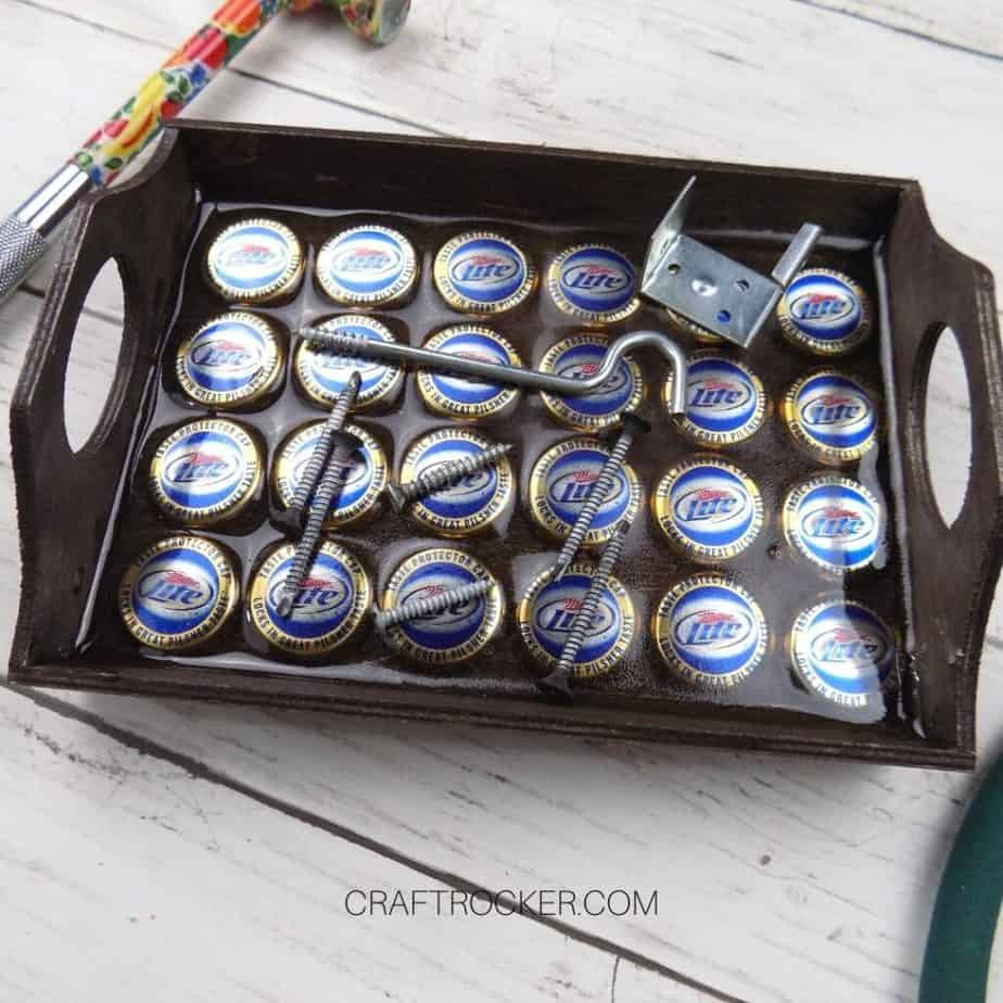 Close Up of Magnetic Wood Tray with Screws on It - Craft Rocker