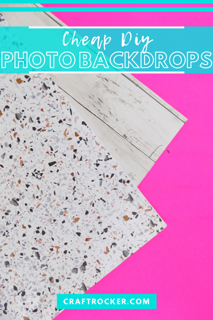 Corners of Wood and Terrazzo DIY Photo Boards with text overlay - Cheap DIY Photo Backdrops - Craft Rocker