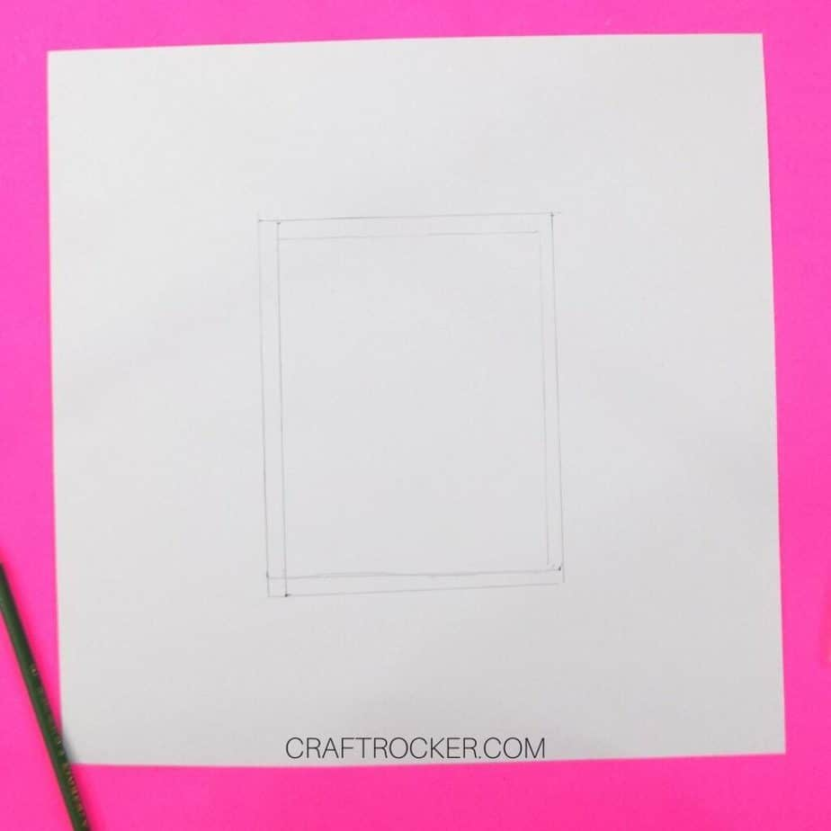 Double Rectangle Drawn on Back of 12x12 Cardstock - Craft Rocker