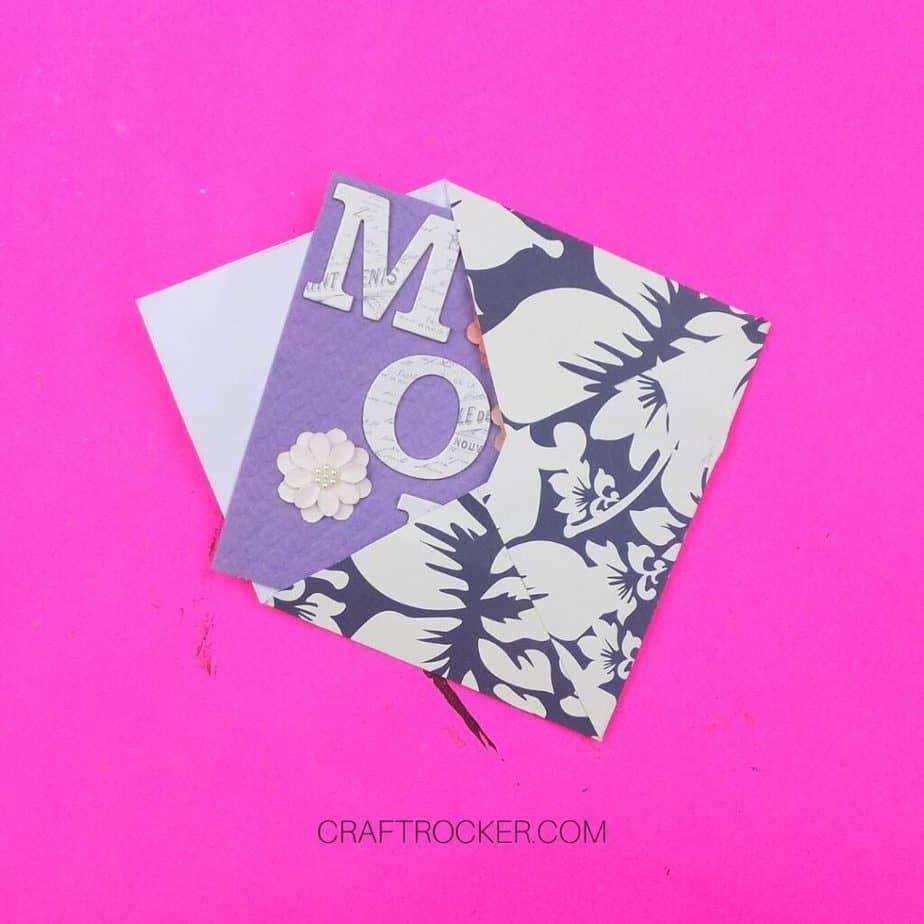 Handmade Card Sticking Out of Decorative Cardstock Envelope - Craft Rocker