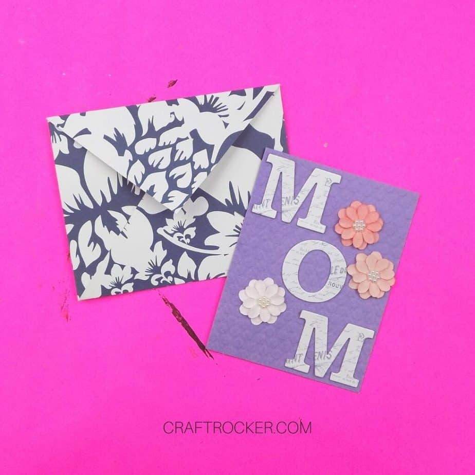 Handmade Card and Envelope on Pink Background - Craft Rocker