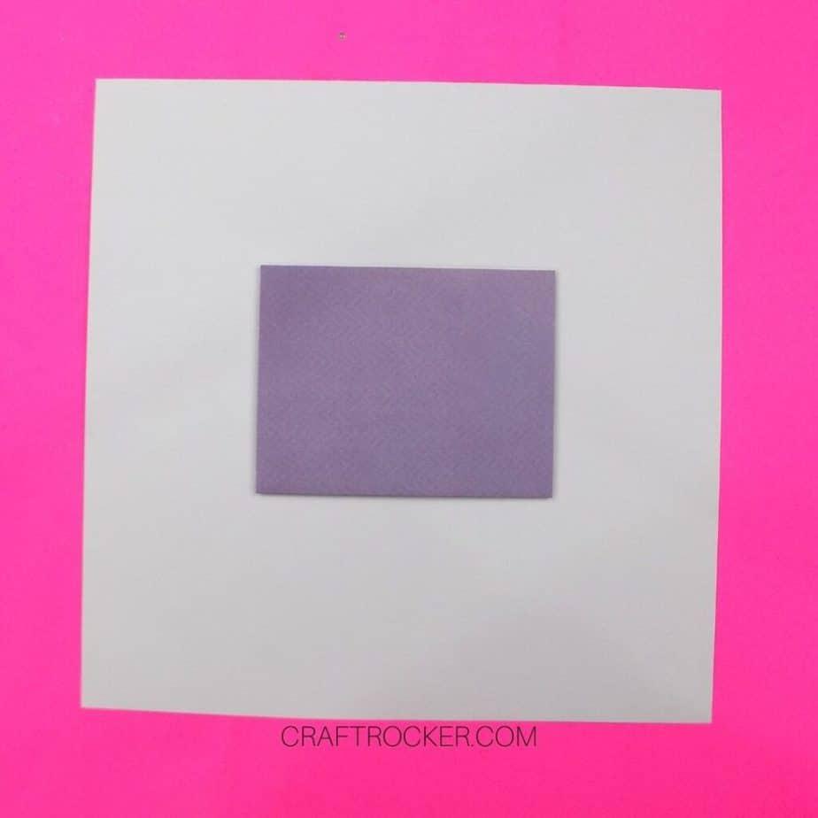 Lavender Card Centered on Back of 12x12 Cardstock - Craft Rocker