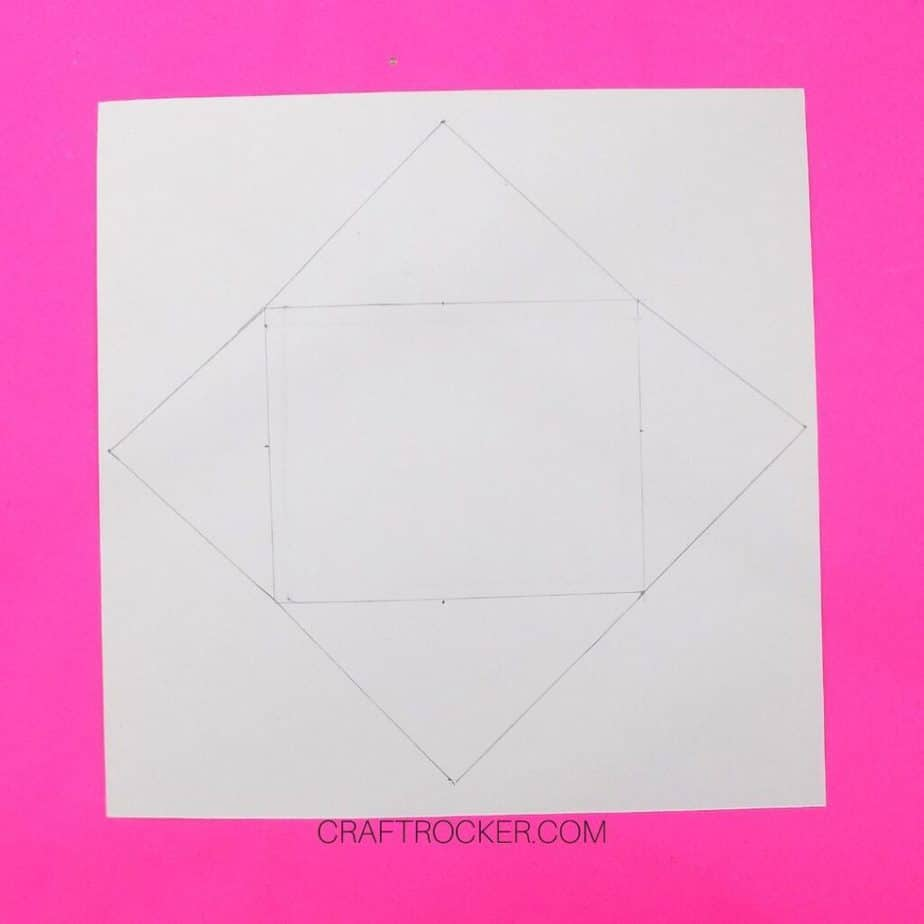 Rectangle with Diamond Flaps Drawn on Back of 12x12 Cardstock - Craft Rocker