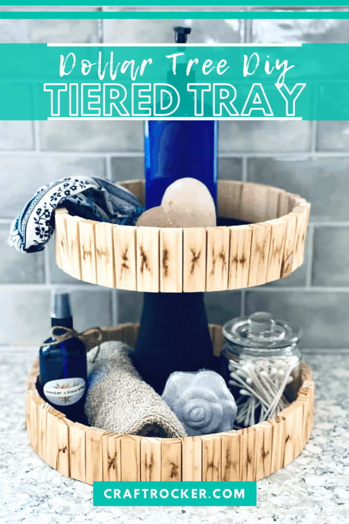 Tiered Tray with Toiletries with text overlay - Dollar Tree DIY Tiered Tray - Craft Rocker