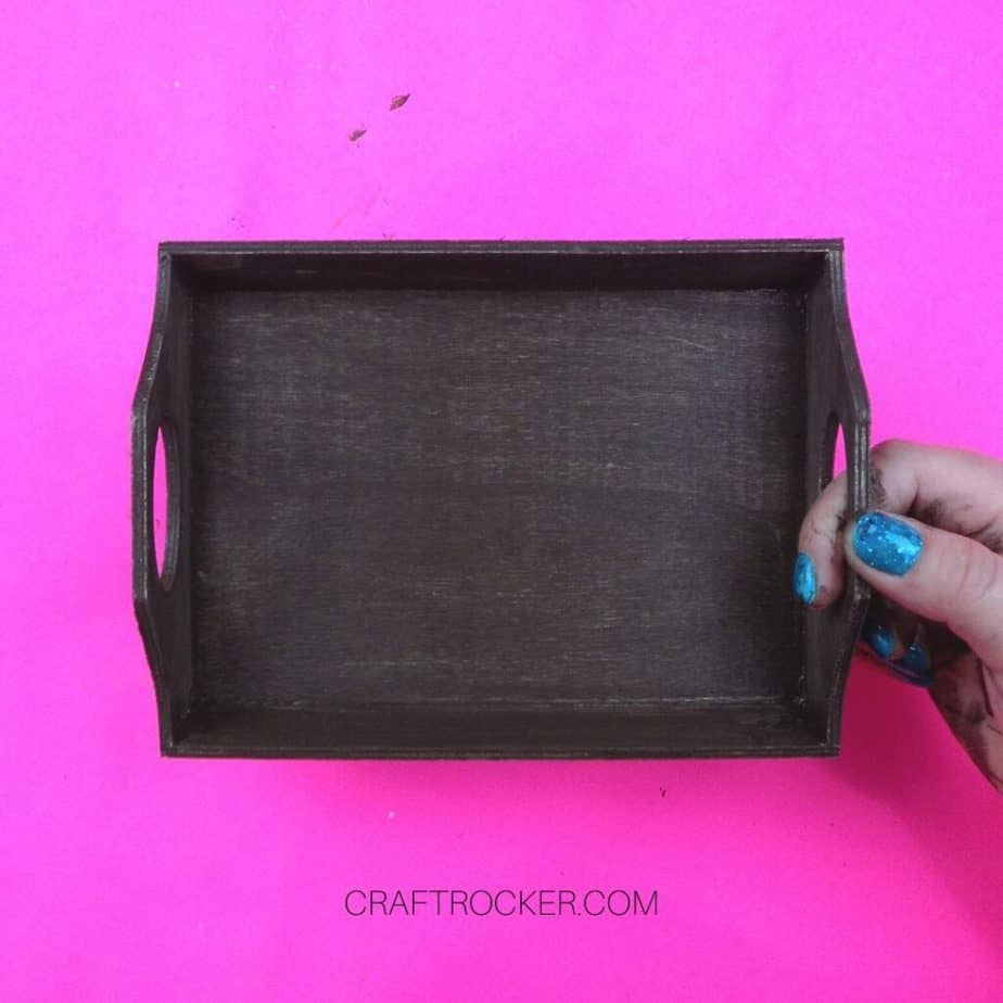 Top of Brown Painted Wood Tray on Pink Background - Craft Rocker