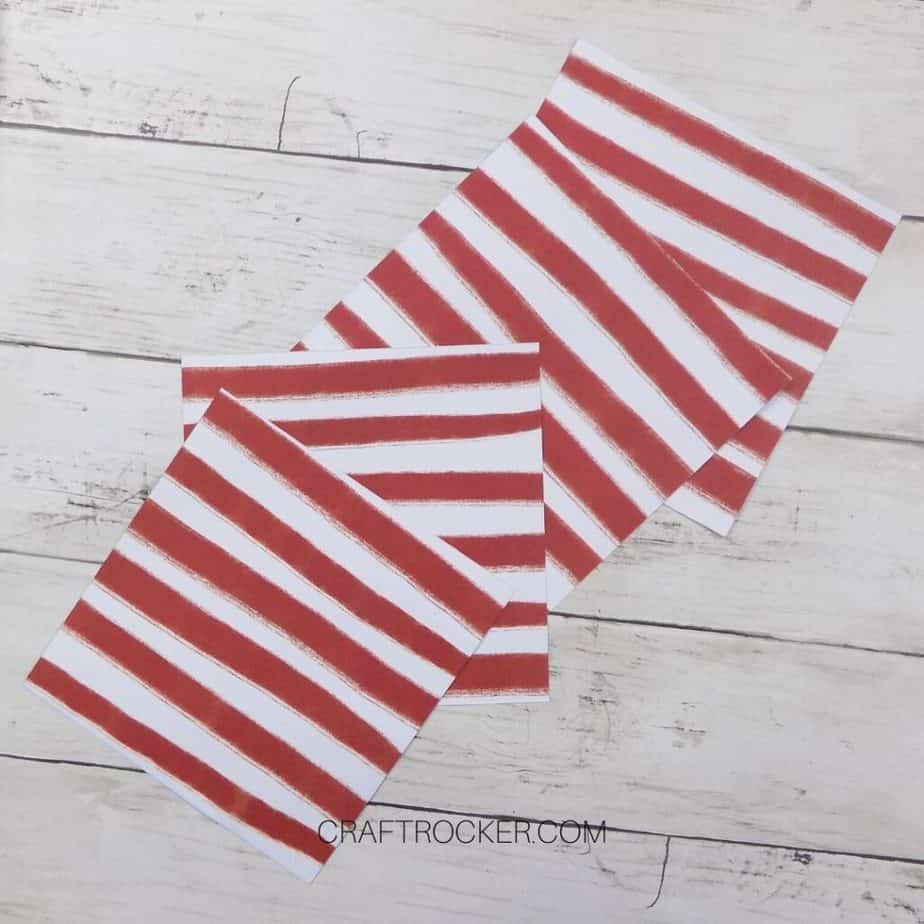 4 Squares of Red and White Striped Paper - Craft Rocker