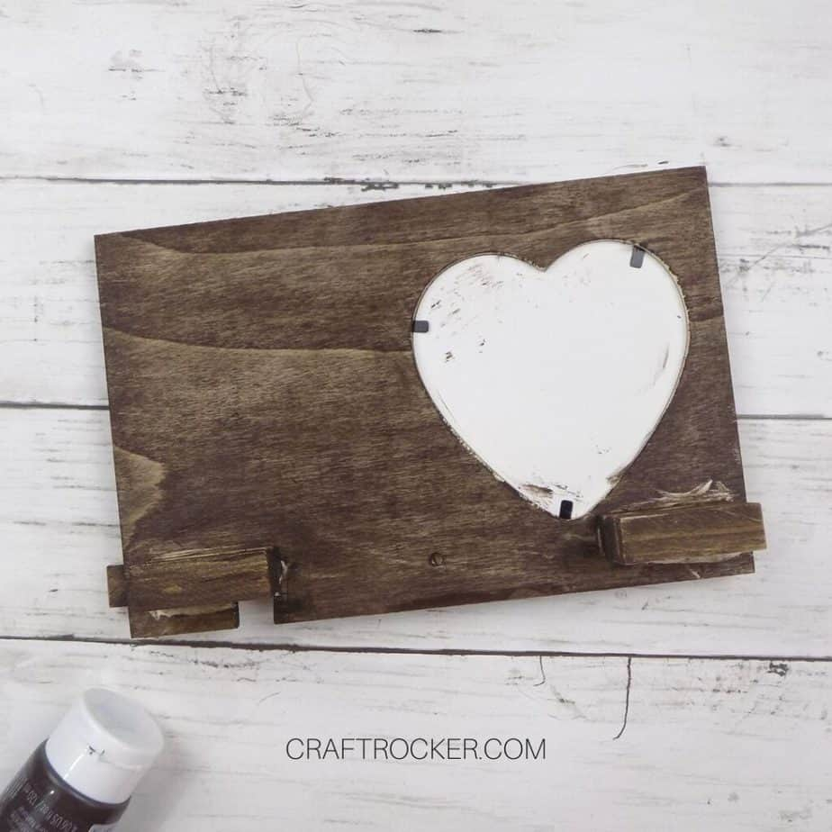 Back of Stained Wood Heart Frame - Craft Rocker