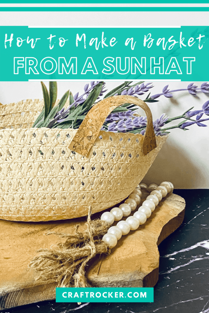 Close Up Sun Hat Basket with Flowers with text overlay - How to Make a Basket from a Sun Hat - Craft Rocker