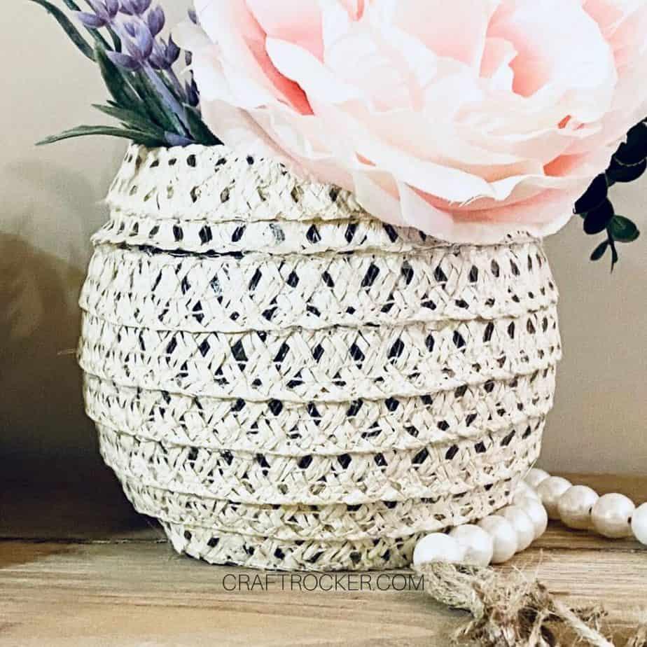 Close Up of Finished Sun Hat Vase - Craft Rocker