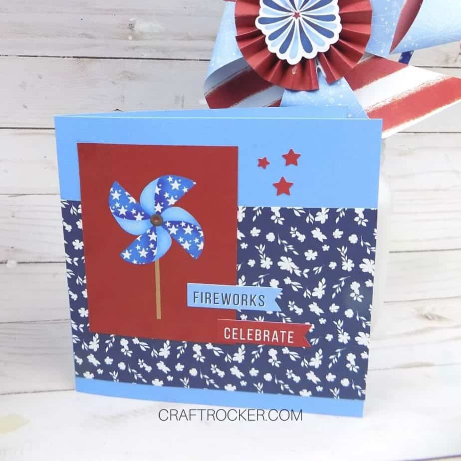 Close Up of Fourth of July Card on Wood Background - Craft Rocker