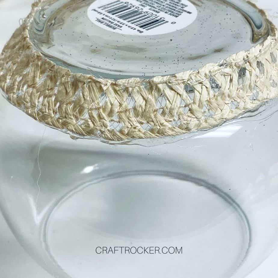 Close Up of Piece of Sun Hat Glued to Bottom of Vase - Craft Rocker