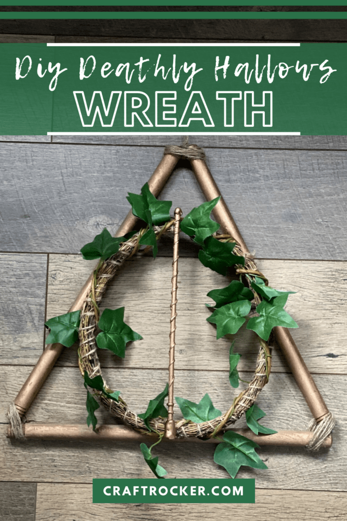 Copper Harry Potter Wreath on Wood Background with text overlay - DIY Deathly Hallows Wreath - Craft Rocker