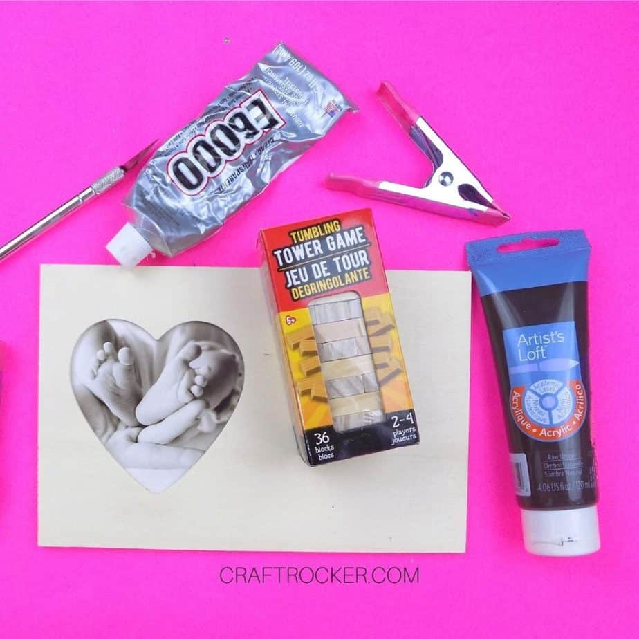 Craft Supplies next to Mini Tower Game and Wood Heart Frame - Craft Rocker
