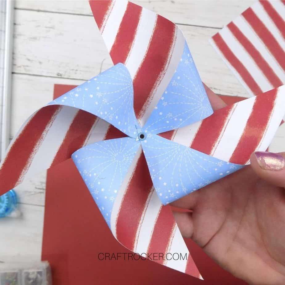 Eyelet Set in Center of Patriotic Paper Pinwheel - Craft Rocker