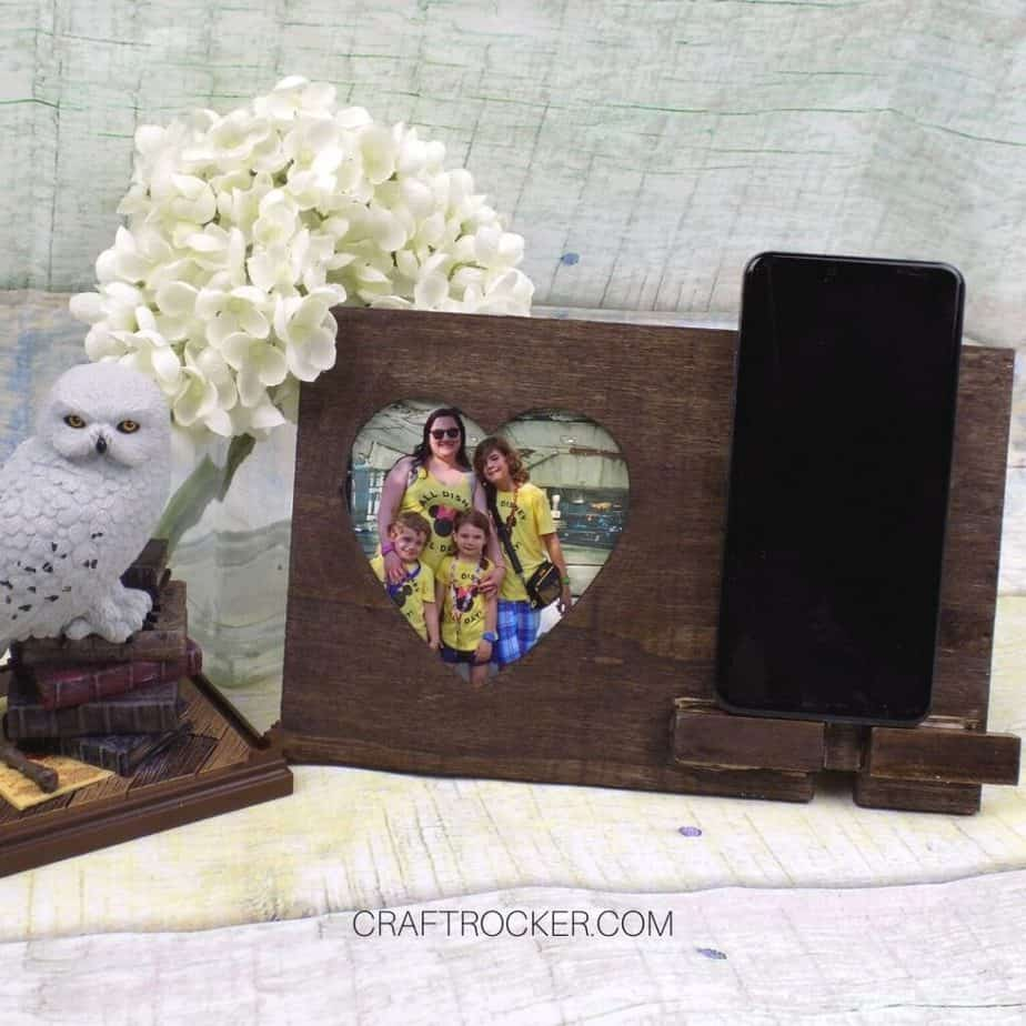 Flower Arrangement next to Heart Photo Frame Phone Holder - Craft Rocker