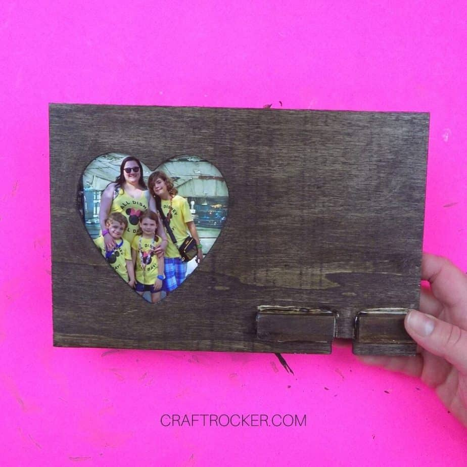 Hand Holding Stained Wood Heart Frame with Photo in It - Craft Rocker