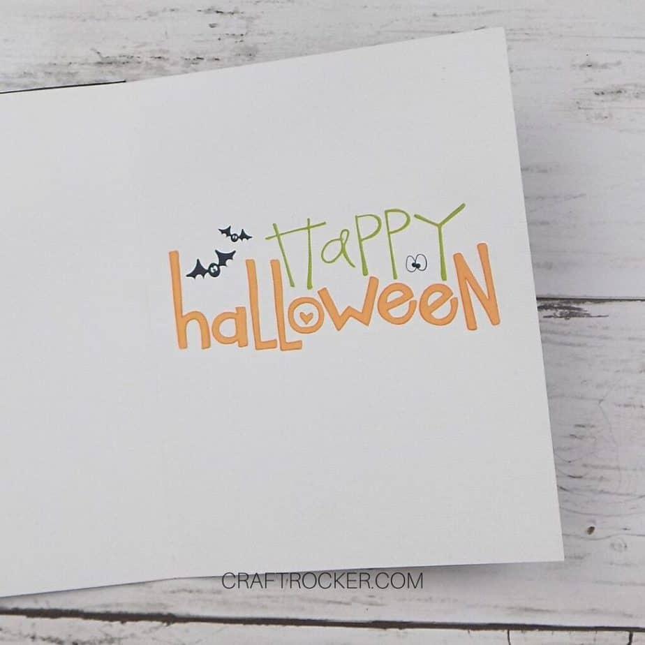 Happy Halloween Sentiment on Inside of Greeting Card - Craft Rocker