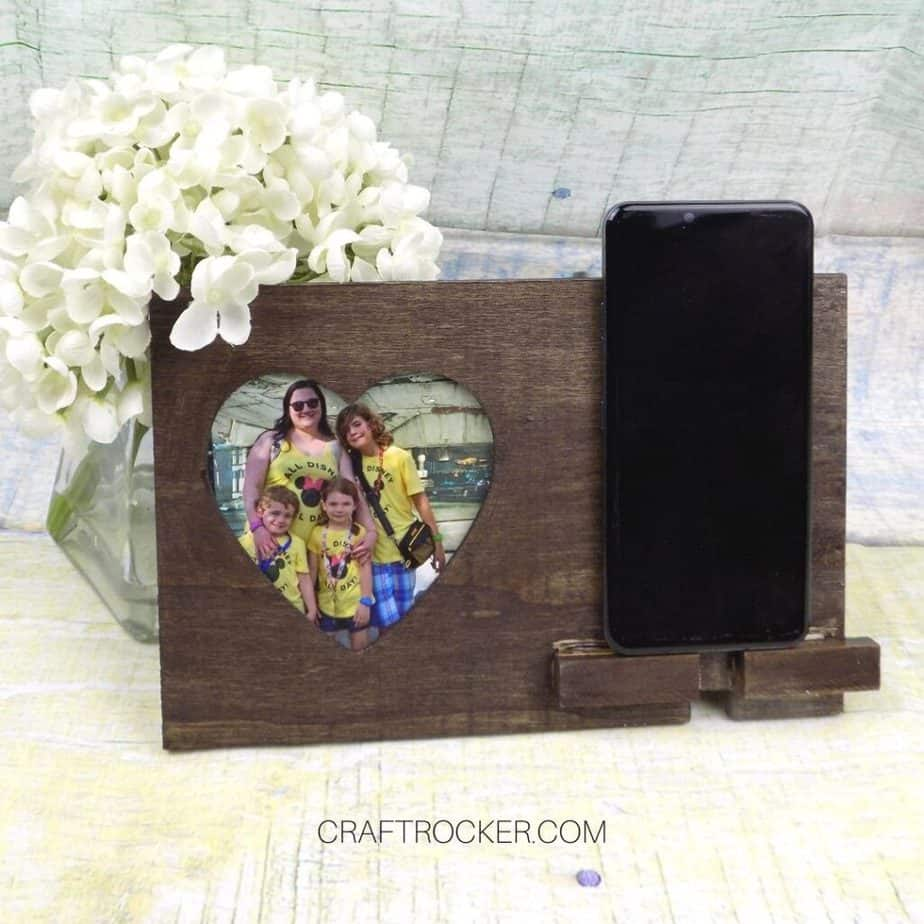 Heart Photo Frame Phone Holder with Phone next to Flowers - Craft Rocker