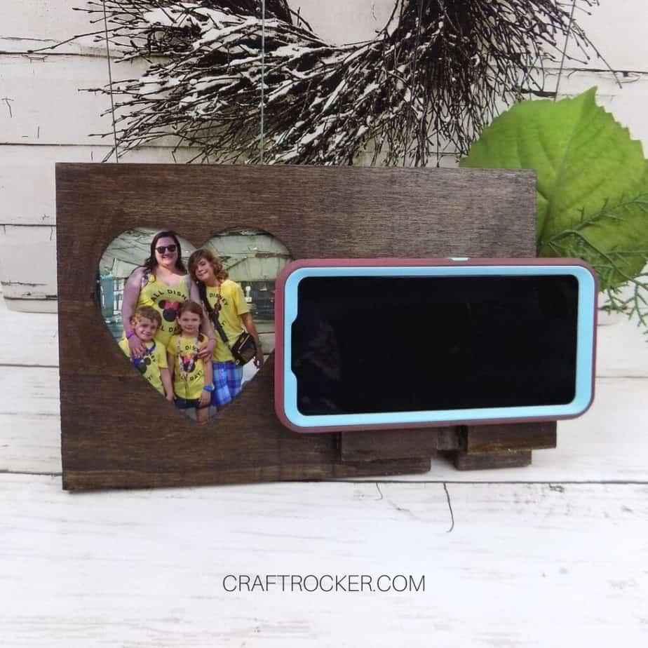 Heart Photo Frame Phone Holder with Phone on Wood Background - Craft Rocker