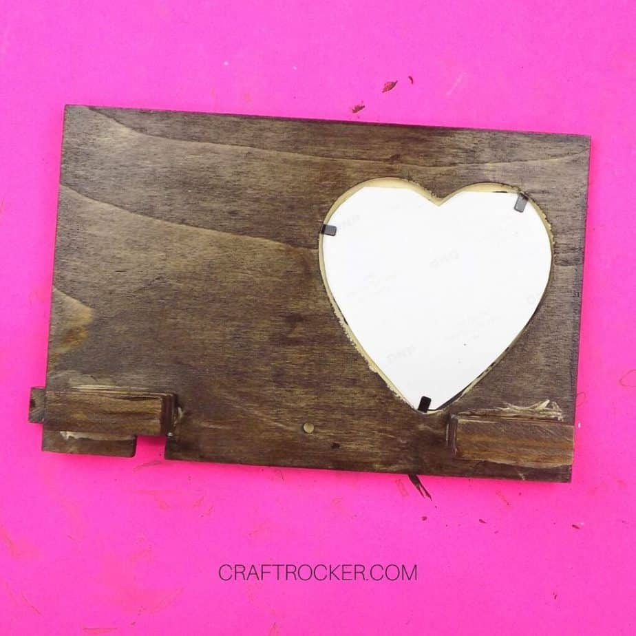 Heart Photo in Back of Stained Wood Heart Frame - Craft Rocker