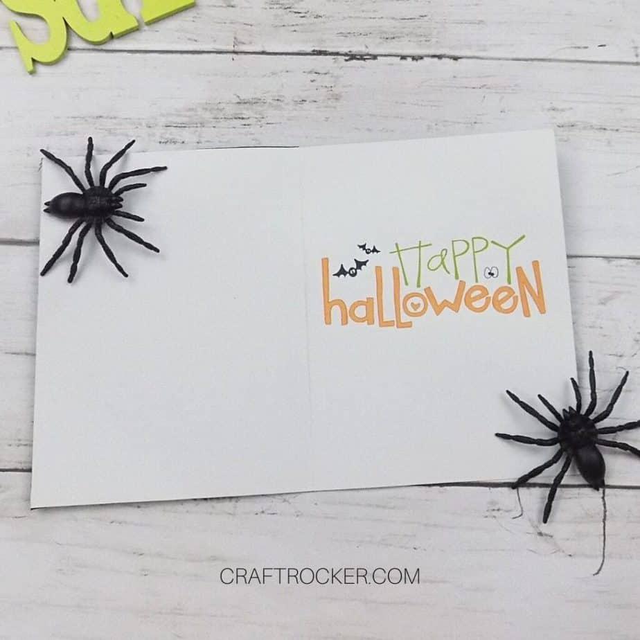 Inside of Halloween Card next to Spiders - Craft Rocker