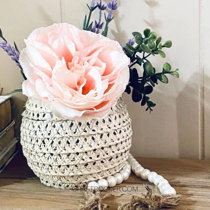Large Pink Flower in Sun Hat Vase - Craft Rocker
