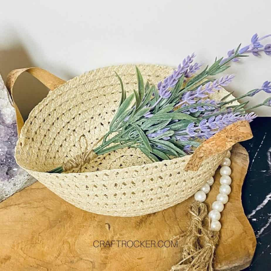 Overhead View of Sun Hat Basket with Flowers - Craft Rocker
