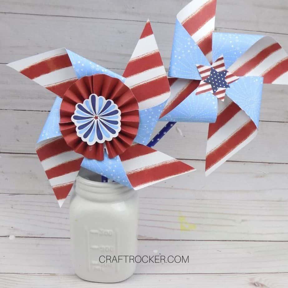 Patriotic Paper Pinwheels in Jar - Craft Rocker