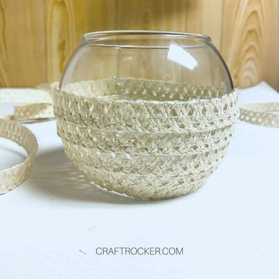 Pieces of Sun Hat Glued to Vase - Craft Rocker