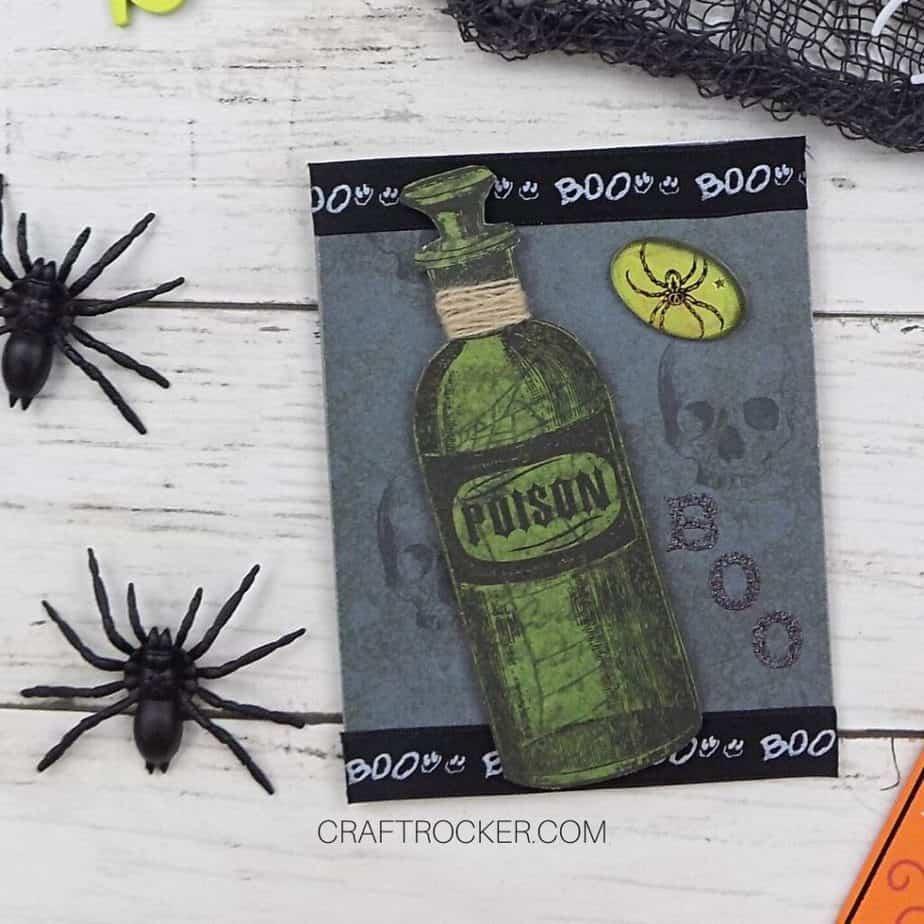 Poison Bottle Card next to Spiders - Craft Rocker